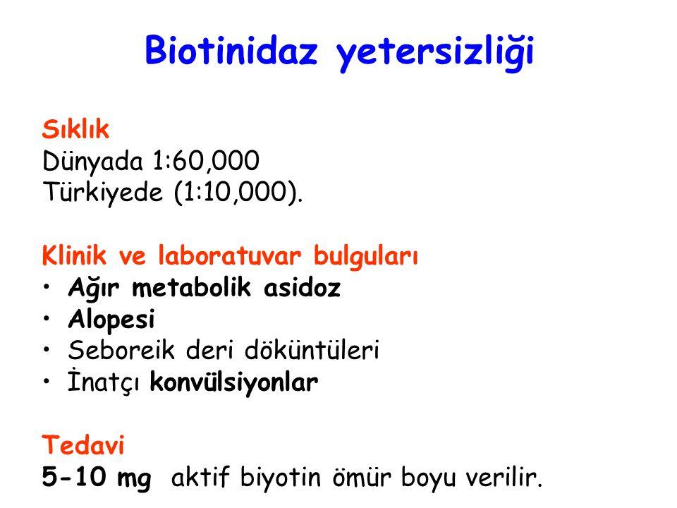 Biotinidaz yetersizliği Sıklık Dünyada 1:60,000 Türkiyede (1:10,000). Klinik ve laboratuvar bulguları Ağır metabolik asidoz Alopesi Seboreik deri dökü