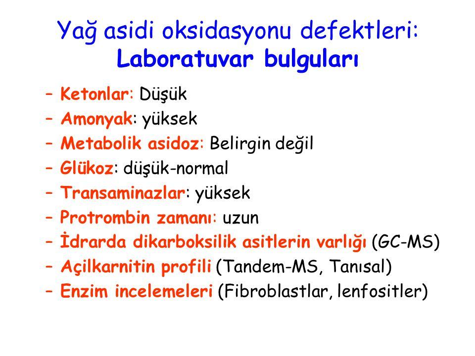Yağ asidi oksidasyonu defektleri: Laboratuvar bulguları –Ketonlar: Düşük –Amonyak: yüksek –Metabolik asidoz: Belirgin değil –Glükoz: düşük-normal –Tra
