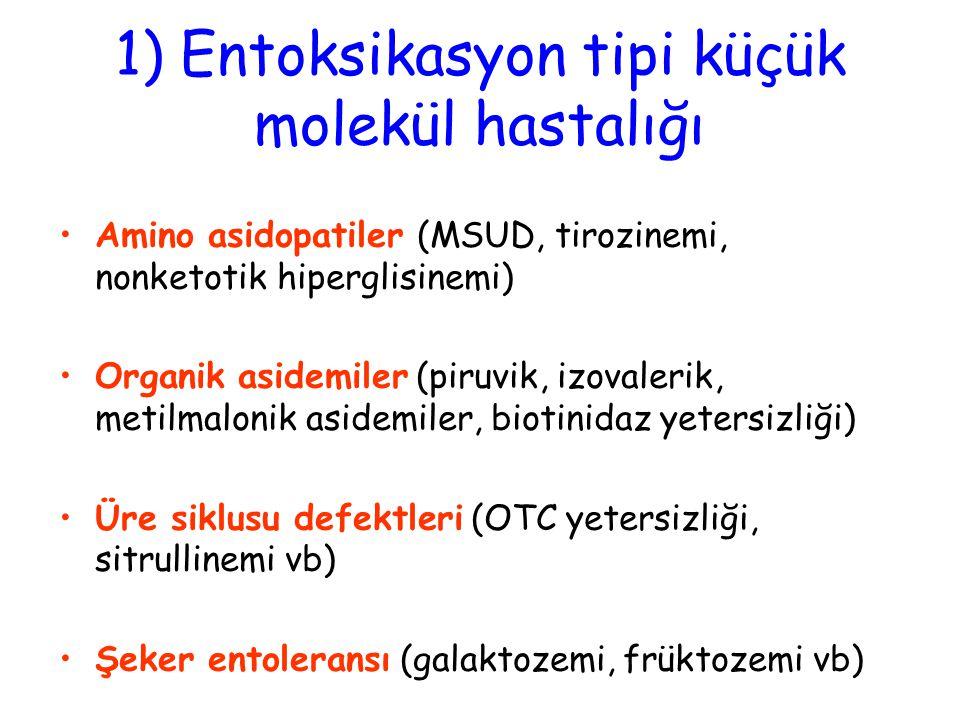 1) Entoksikasyon tipi küçük molekül hastalığı Amino asidopatiler (MSUD, tirozinemi, nonketotik hiperglisinemi) Organik asidemiler (piruvik, izovalerik
