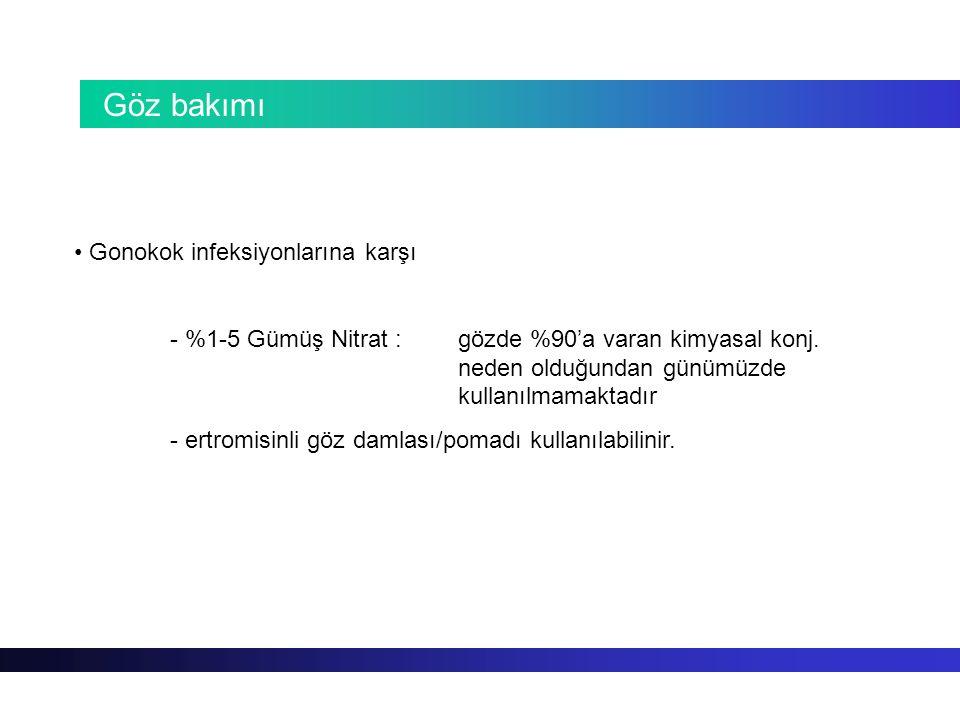 Göz bakımı Gonokok infeksiyonlarına karşı - %1-5 Gümüş Nitrat : gözde %90'a varan kimyasal konj. neden olduğundan günümüzde kullanılmamaktadır - ertro
