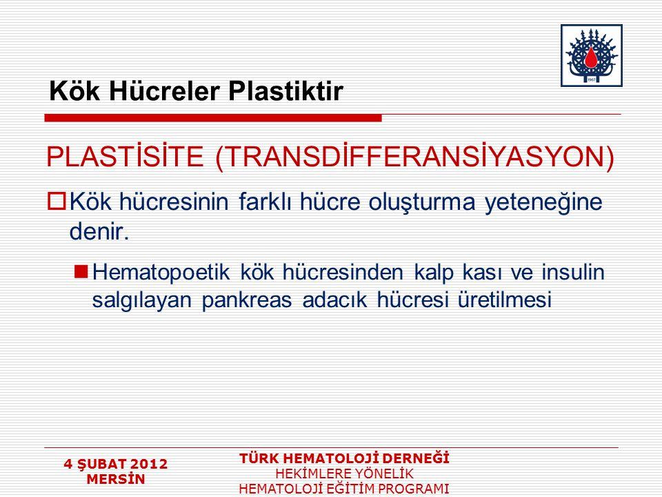 4 ŞUBAT 2012 MERSİN TÜRK HEMATOLOJİ DERNEĞİ HEKİMLERE YÖNELİK HEMATOLOJİ EĞİTİM PROGRAMI Kök Hücreler Plastiktir PLASTİSİTE (TRANSDİFFERANSİYASYON) 