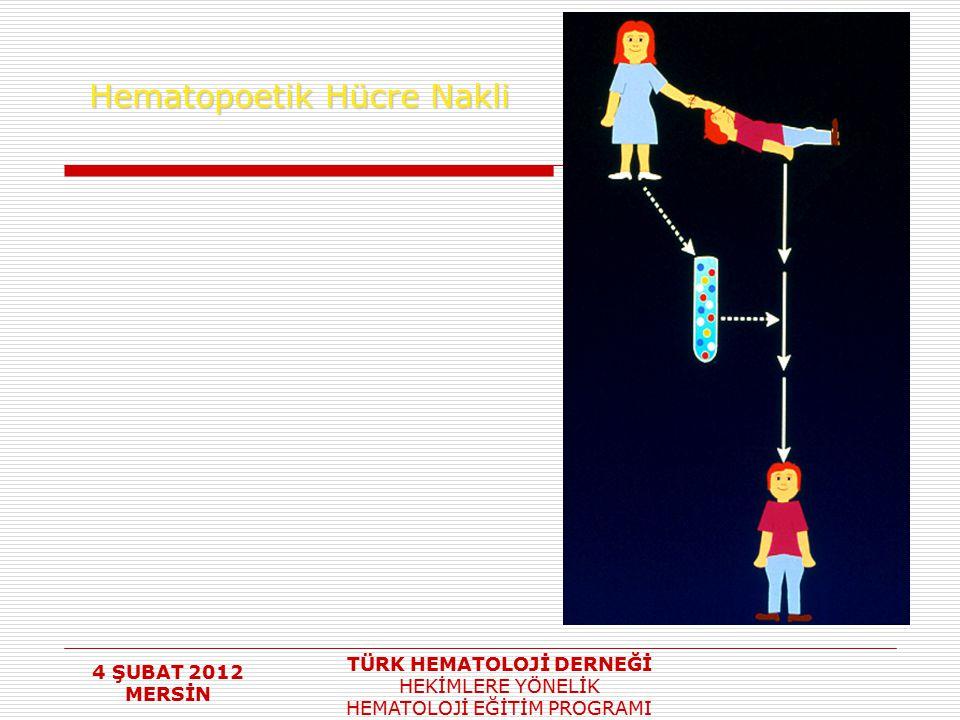 4 ŞUBAT 2012 MERSİN TÜRK HEMATOLOJİ DERNEĞİ HEKİMLERE YÖNELİK HEMATOLOJİ EĞİTİM PROGRAMI Hematopoetik Hücre Nakli