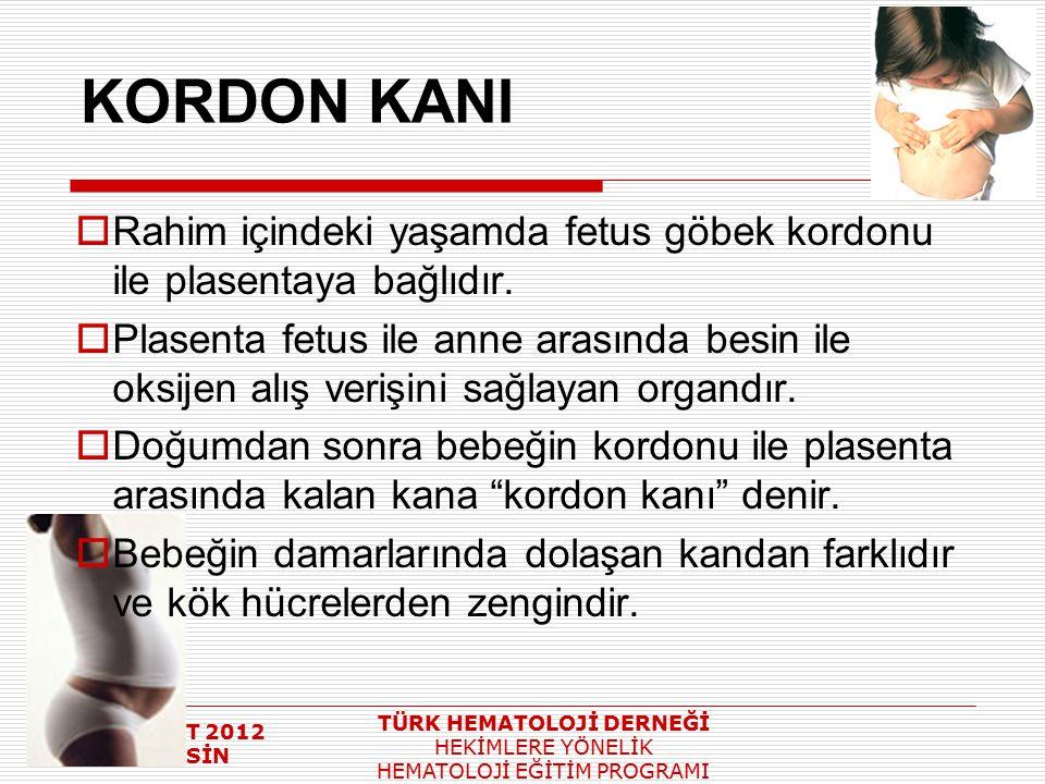4 ŞUBAT 2012 MERSİN TÜRK HEMATOLOJİ DERNEĞİ HEKİMLERE YÖNELİK HEMATOLOJİ EĞİTİM PROGRAMI KORDON KANI  Rahim içindeki yaşamda fetus göbek kordonu ile