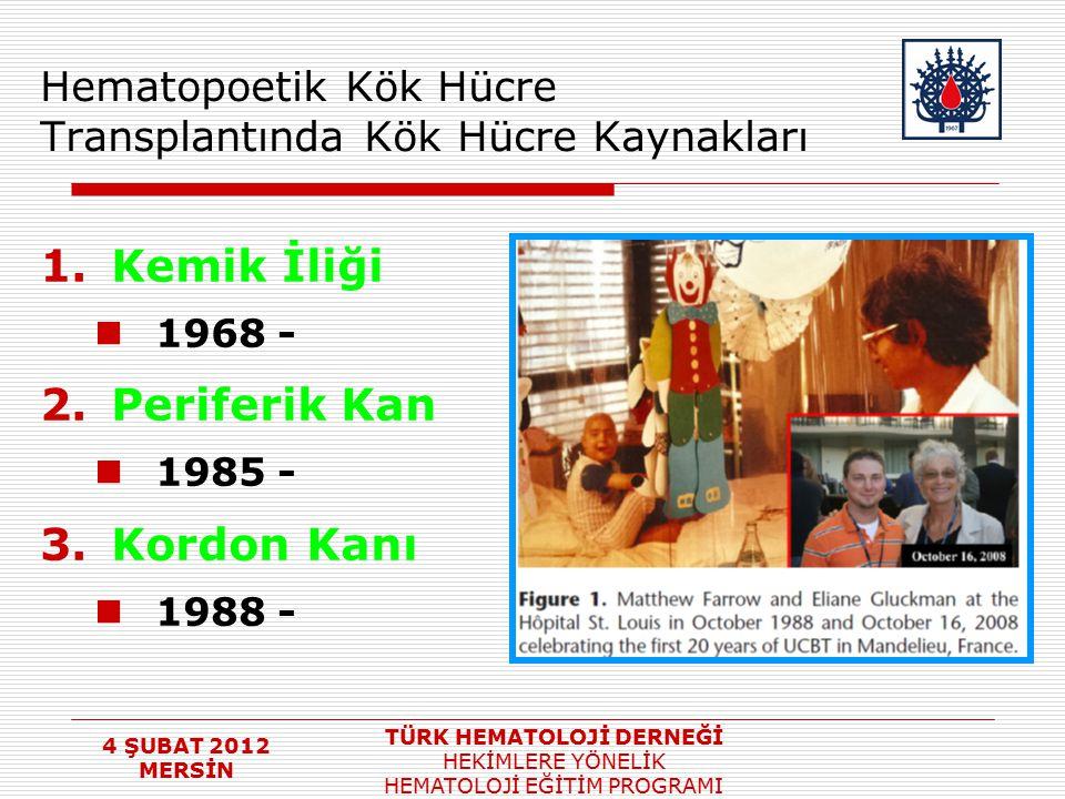 4 ŞUBAT 2012 MERSİN TÜRK HEMATOLOJİ DERNEĞİ HEKİMLERE YÖNELİK HEMATOLOJİ EĞİTİM PROGRAMI Hematopoetik Kök Hücre Transplantında Kök Hücre Kaynakları 1.