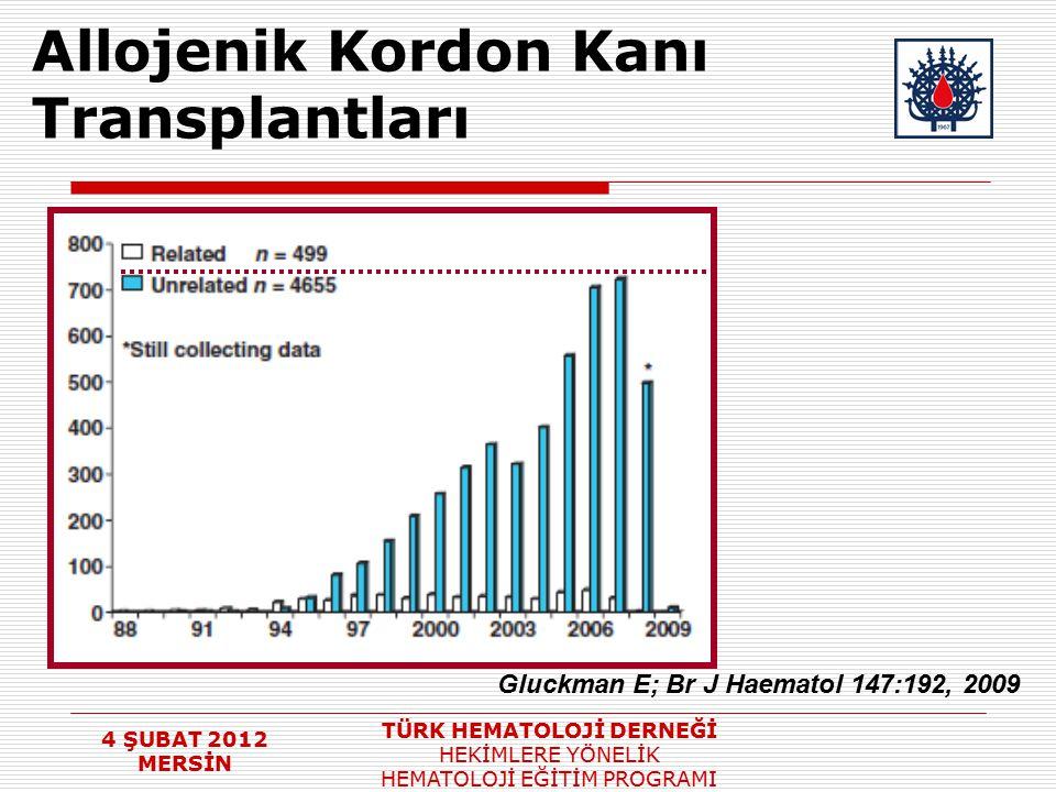 4 ŞUBAT 2012 MERSİN TÜRK HEMATOLOJİ DERNEĞİ HEKİMLERE YÖNELİK HEMATOLOJİ EĞİTİM PROGRAMI Allojenik Kordon Kanı Transplantları Gluckman E; Br J Haemato