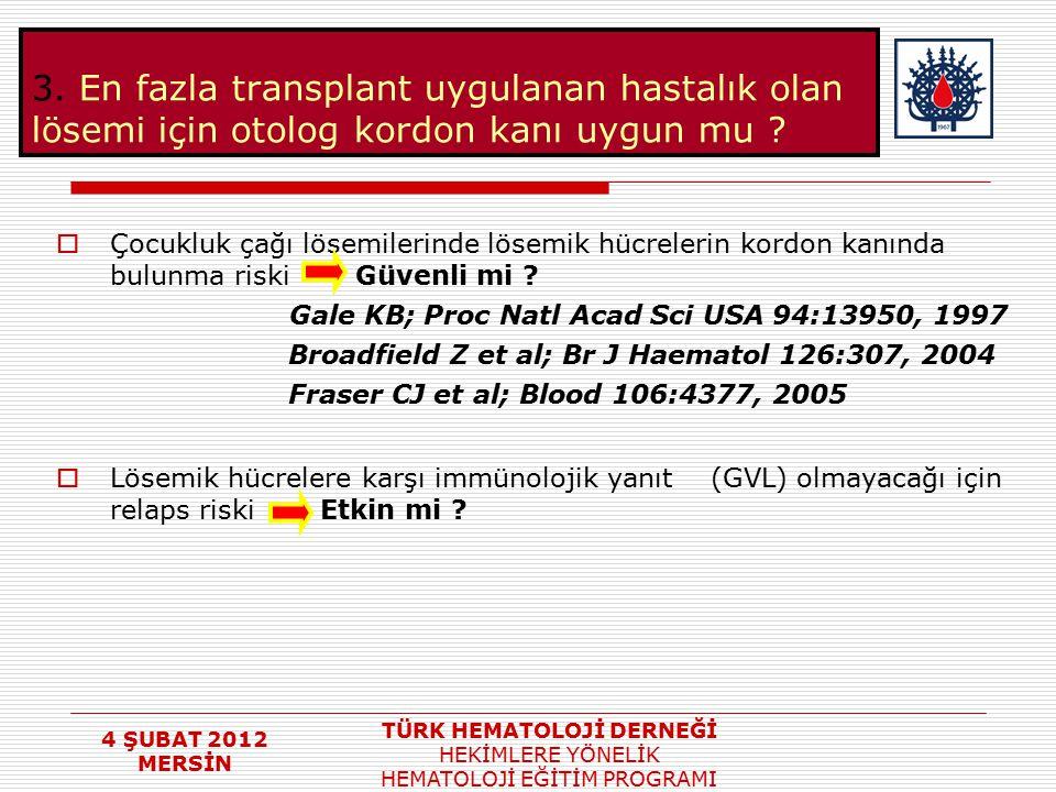 4 ŞUBAT 2012 MERSİN TÜRK HEMATOLOJİ DERNEĞİ HEKİMLERE YÖNELİK HEMATOLOJİ EĞİTİM PROGRAMI 3. En fazla transplant uygulanan hastalık olan lösemi için ot