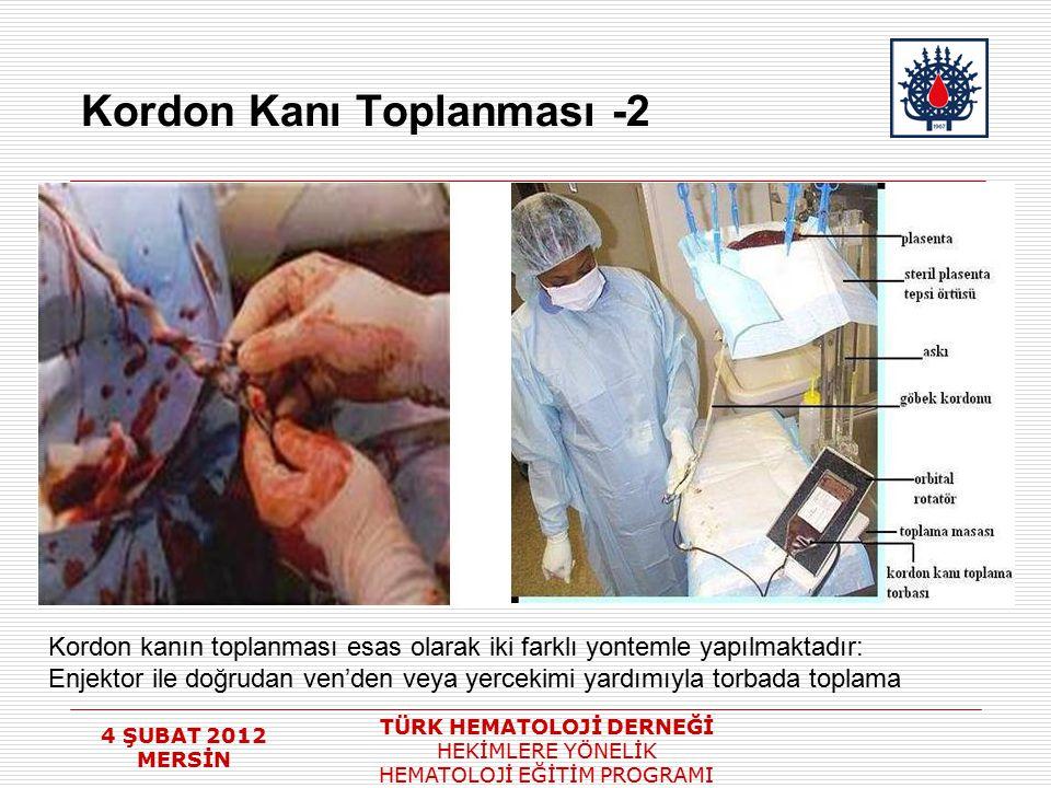 4 ŞUBAT 2012 MERSİN TÜRK HEMATOLOJİ DERNEĞİ HEKİMLERE YÖNELİK HEMATOLOJİ EĞİTİM PROGRAMI Kordon Kanı Toplanması -2 Kordon kanın toplanması esas olarak
