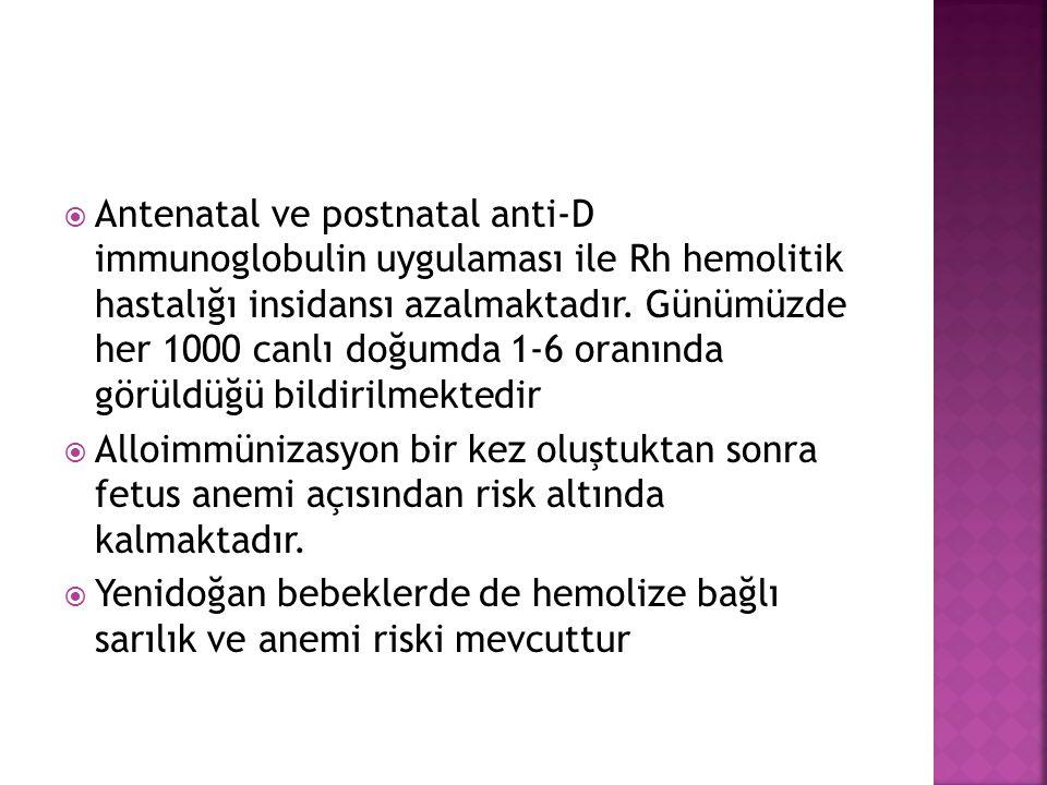  Antenatal ve postnatal anti-D immunoglobulin uygulaması ile Rh hemolitik hastalığı insidansı azalmaktadır.