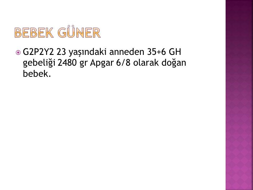  G2P2Y2 23 yaşındaki anneden 35+6 GH gebeliği 2480 gr Apgar 6/8 olarak doğan bebek.