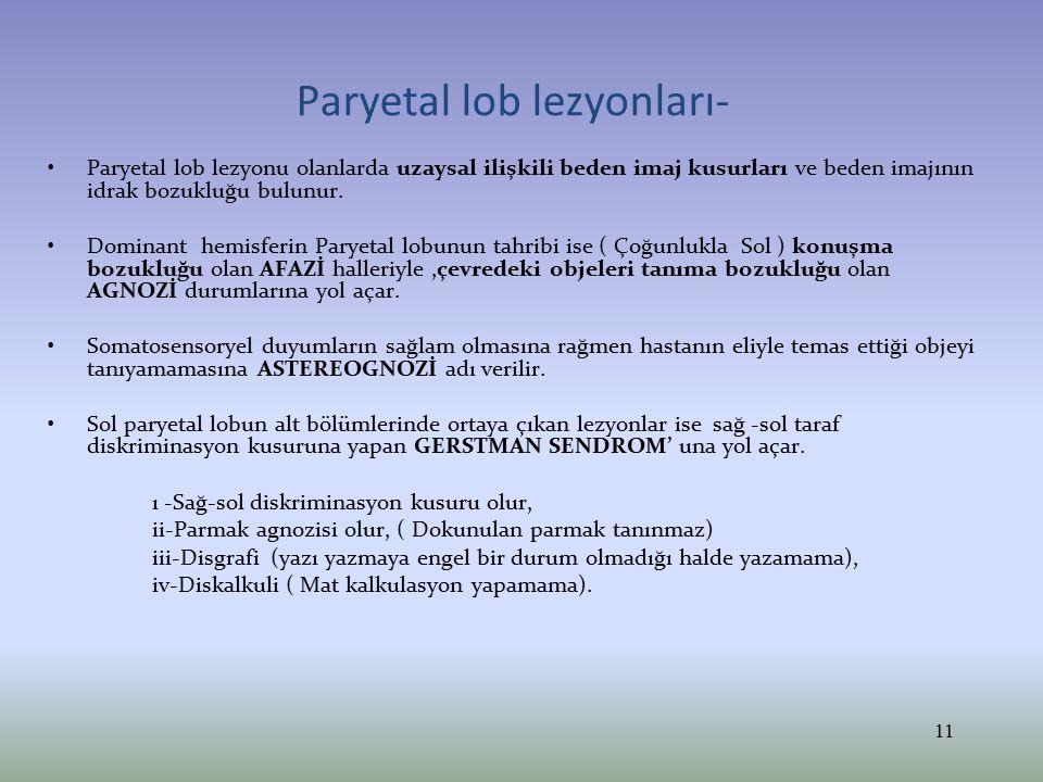 Paryetal lob lezyonları- Paryetal lob lezyonu olanlarda uzaysal ilişkili beden imaj kusurları ve beden imajının idrak bozukluğu bulunur. Dominant hemi