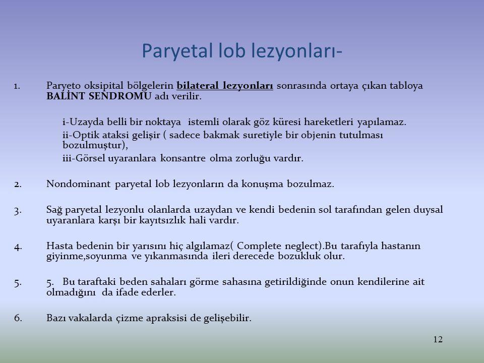 Paryetal lob lezyonları- 1.Paryeto oksipital bölgelerin bilateral lezyonları sonrasında ortaya çıkan tabloya BALİNT SENDROMU adı verilir. i-Uzayda bel