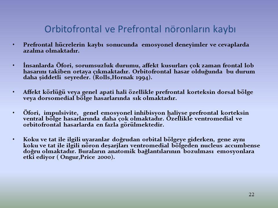 Orbitofrontal ve Prefrontal nöronların kaybı Prefrontal hücrelerin kaybı sonucunda emosyonel deneyimler ve cevaplarda azalma olmaktadır. İnsanlarda Öf