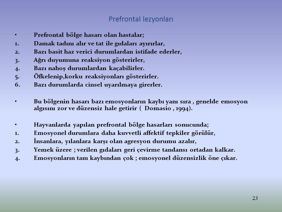 Prefrontal lezyonları Prefrontal bölge hasarı olan hastalar; 1.Damak tadını alır ve tat ile gıdaları ayırırlar, 2.Bazı basit haz verici durumlardan is
