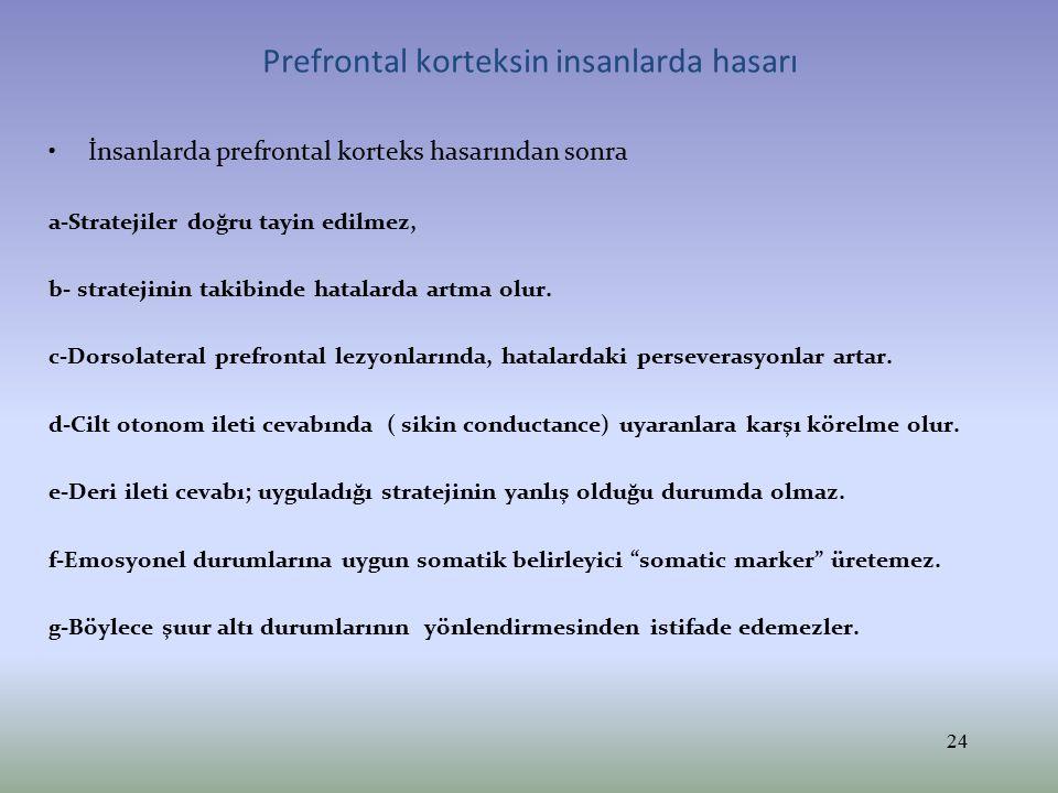 Prefrontal korteksin insanlarda hasarı İnsanlarda prefrontal korteks hasarından sonra a-Stratejiler doğru tayin edilmez, b- stratejinin takibinde hata