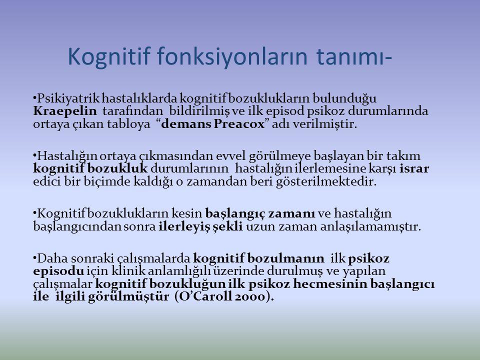 Kognitif fonksiyonların tanımı- Psikiyatrik hastalıklarda kognitif bozuklukların bulunduğu Kraepelin tarafından bildirilmiş ve ilk episod psikoz durum