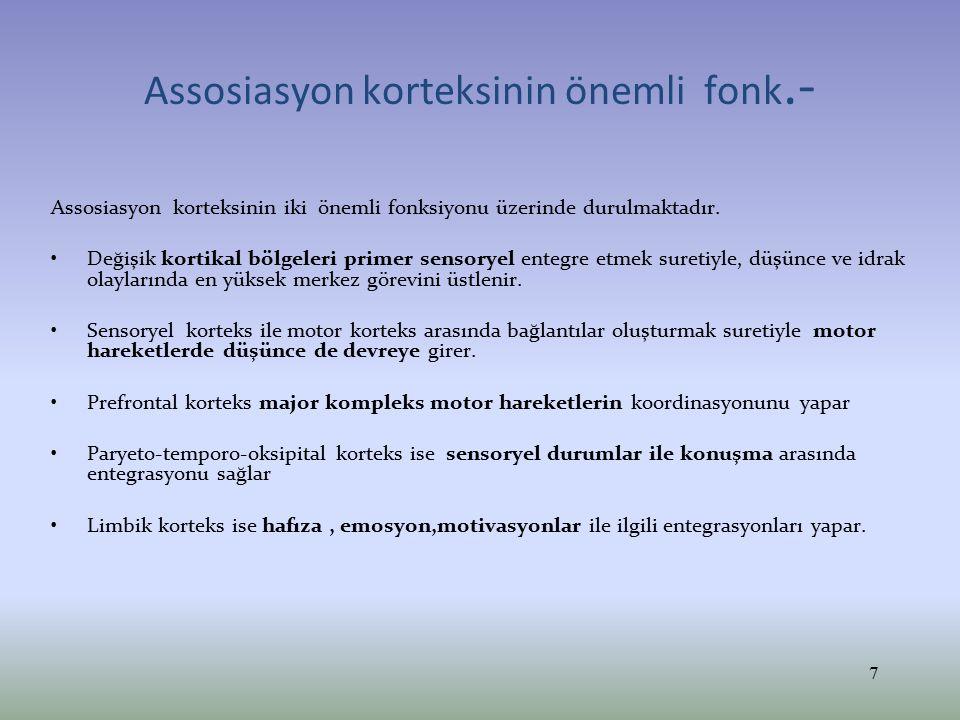 Assosiasyon korteksinin önemli fonk.- Assosiasyon korteksinin iki önemli fonksiyonu üzerinde durulmaktadır. Değişik kortikal bölgeleri primer sensorye