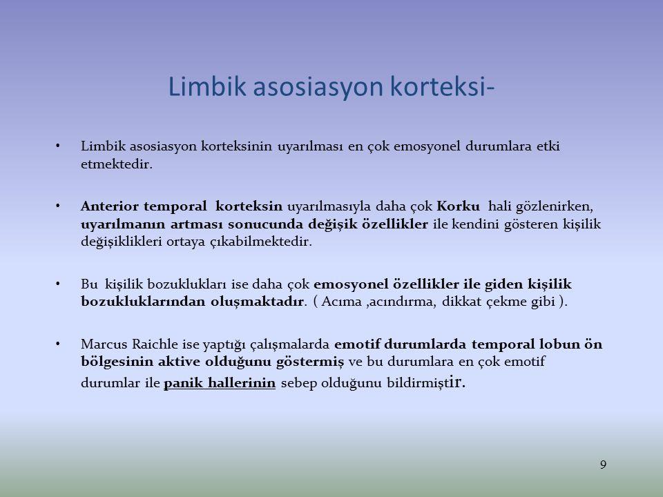 Limbik asosiasyon korteksi- Limbik asosiasyon korteksinin uyarılması en çok emosyonel durumlara etki etmektedir. Anterior temporal korteksin uyarılmas