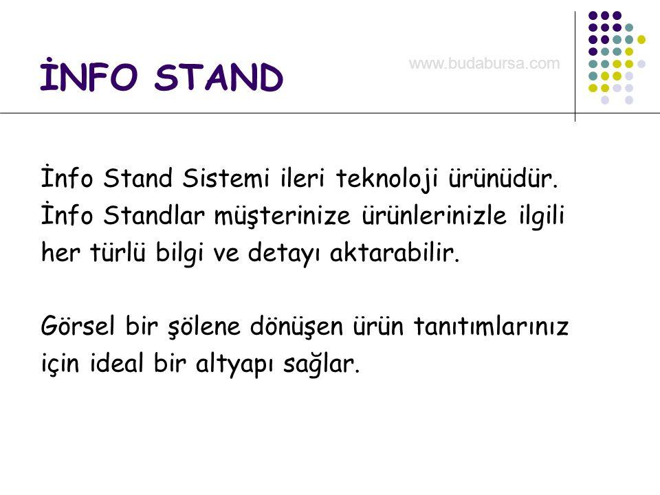 İnfo Stand Sistemi ileri teknoloji ürünüdür. İnfo Standlar müşterinize ürünlerinizle ilgili her türlü bilgi ve detayı aktarabilir. Görsel bir şölene d