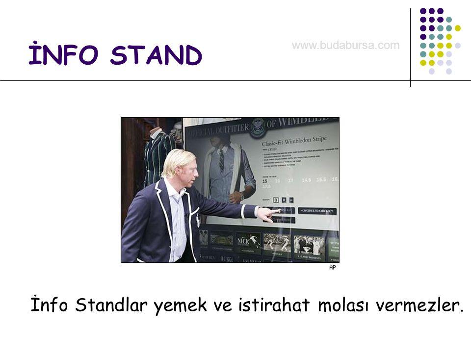 İNFO STAND İnfo Standlar yemek ve istirahat molası vermezler. www.budabursa.com