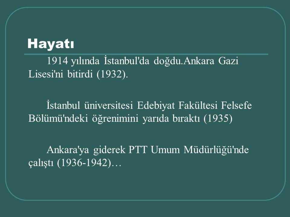Hayatı 1914 yılında İstanbul'da doğdu.Ankara Gazi Lisesi'ni bitirdi (1932). İstanbul üniversitesi Edebiyat Fakültesi Felsefe Bölümü'ndeki öğrenimini y