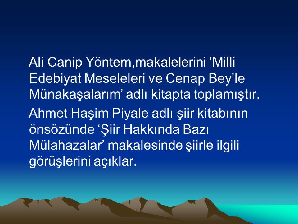 Ali Canip Yöntem,makalelerini 'Milli Edebiyat Meseleleri ve Cenap Bey'le Münakaşalarım' adlı kitapta toplamıştır. Ahmet Haşim Piyale adlı şiir kitabın