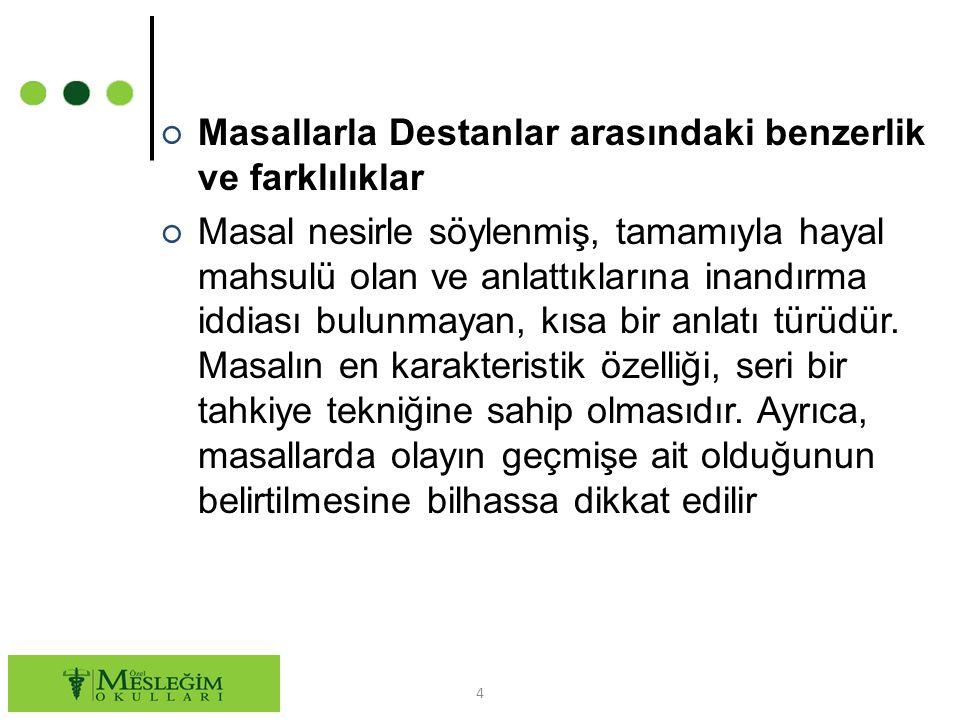 5 ○ Masal ile Destan arasında şu benzerlikler vardır: ○ 1.