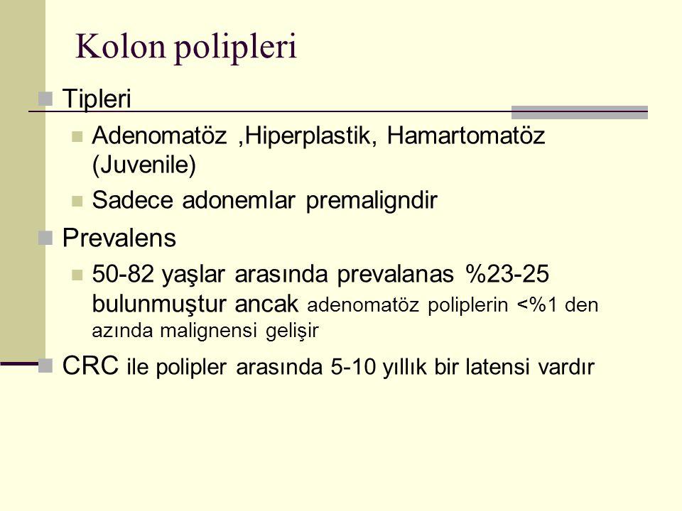 Kolon polipleri Tipleri Adenomatöz,Hiperplastik, Hamartomatöz (Juvenile) Sadece adonemlar premaligndir Prevalens 50-82 yaşlar arasında prevalanas %23-25 bulunmuştur ancak adenomatöz poliplerin <%1 den azında malignensi gelişir CRC ile polipler arasında 5-10 yıllık bir latensi vardır