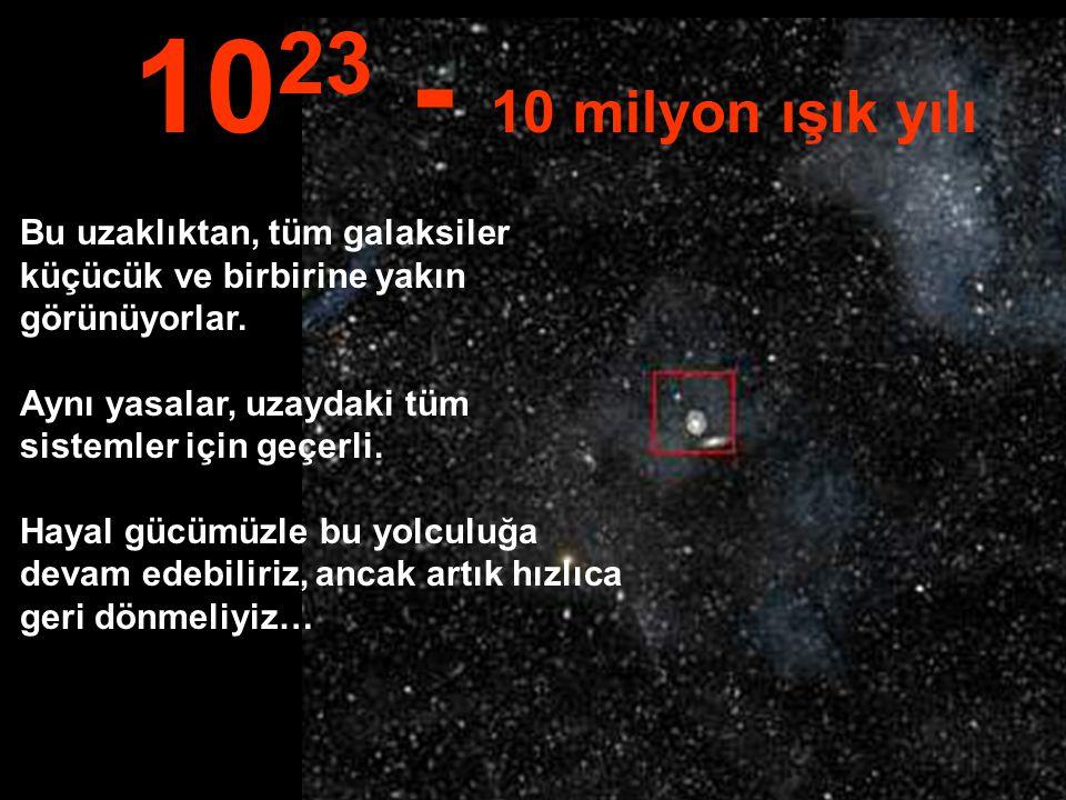 Bu muazzam uzaklıkta bütün samanyolu galaksisini ve diğer galaksileri görebiliyoruz… 10 22 1 milyon ışık yılı