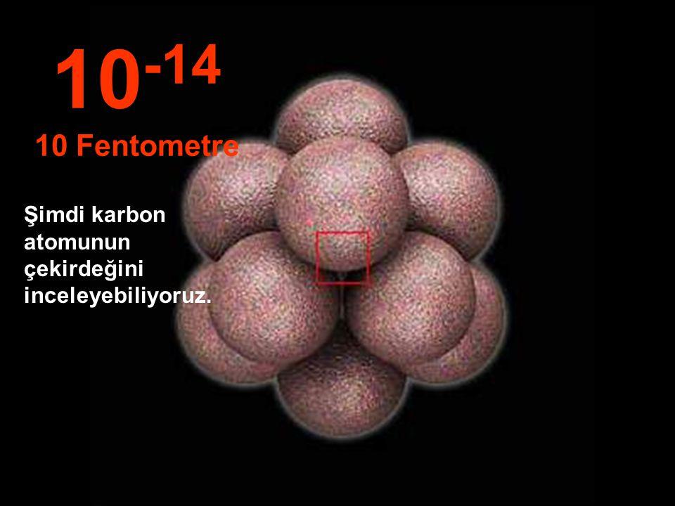Bu inanılmaz küçüklükte, Atom çekirdeğini görebiliyoruz. 10 -13 100 Fentometre