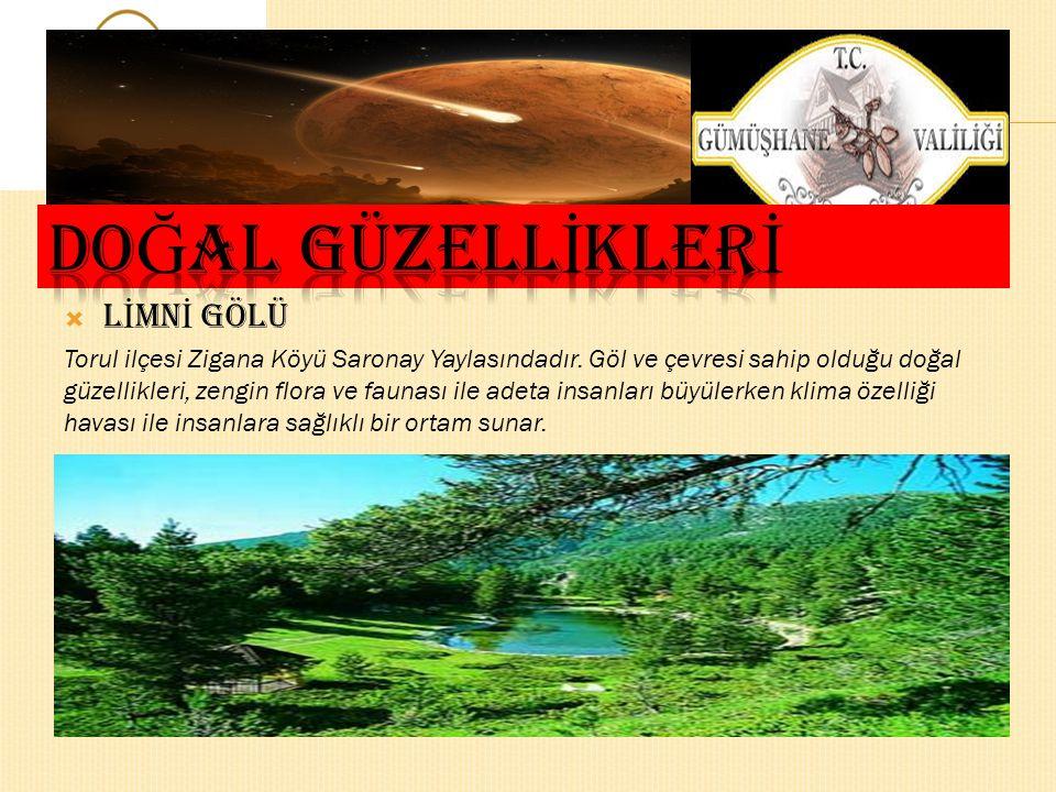  L İ MN İ GÖLÜ Torul ilçesi Zigana Köyü Saronay Yaylasındadır.