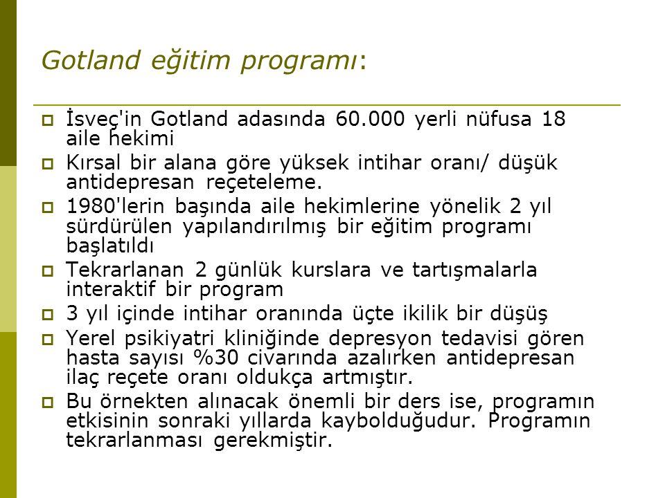 Gotland eğitim programı:  İsveç'in Gotland adasında 60.000 yerli nüfusa 18 aile hekimi  Kırsal bir alana göre yüksek intihar oranı/ düşük antidepres