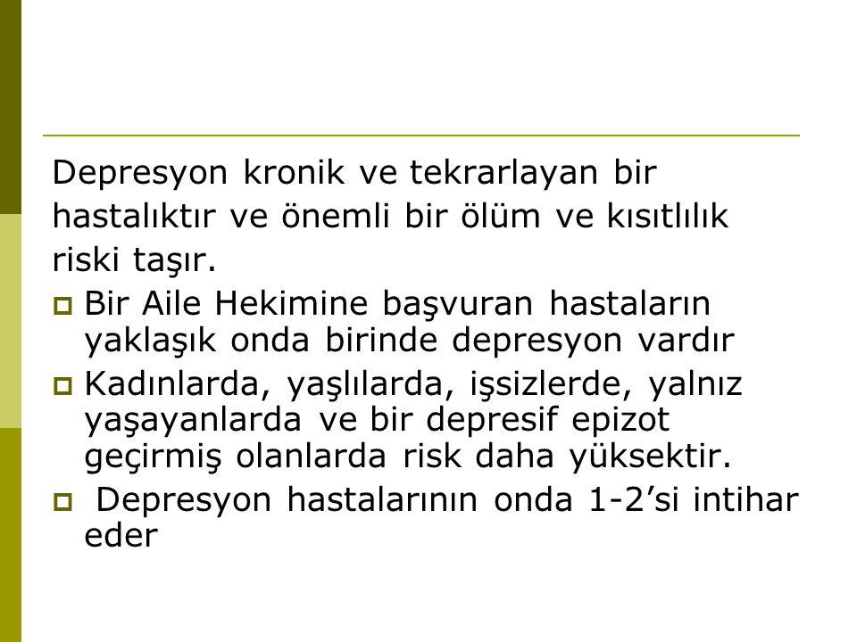 Depresyon kronik ve tekrarlayan bir hastalıktır ve önemli bir ölüm ve kısıtlılık riski taşır.  Bir Aile Hekimine başvuran hastaların yaklaşık onda bi