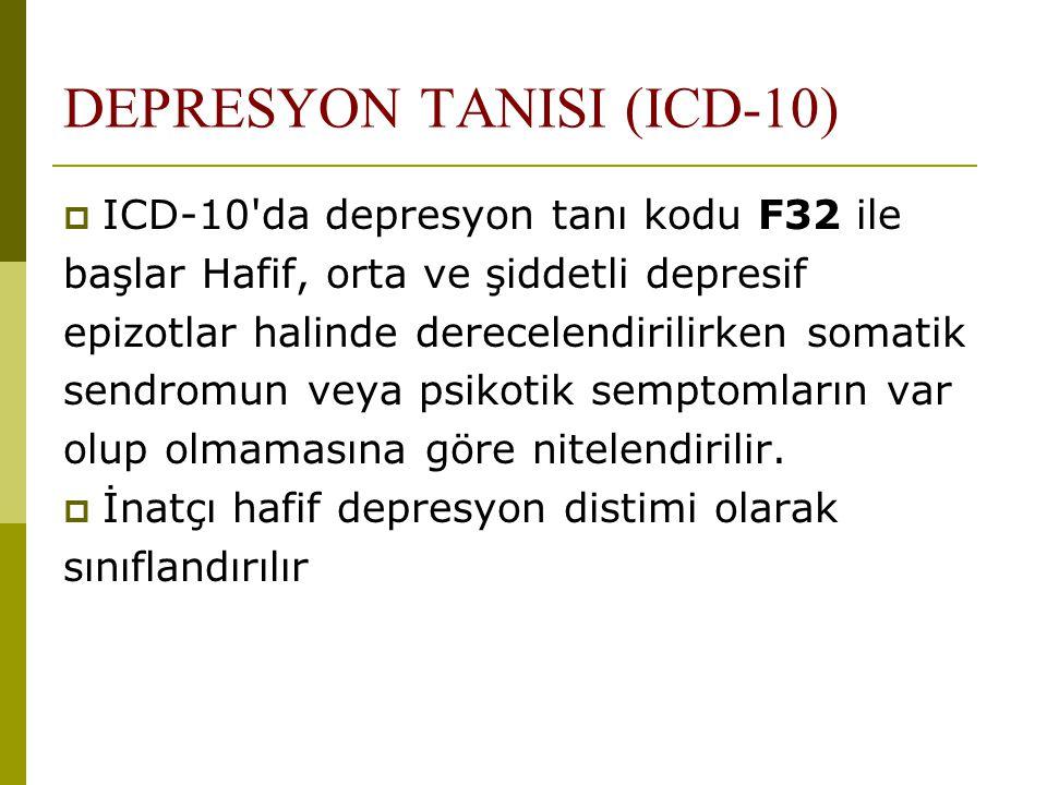 DEPRESYON TANISI (ICD-10)  ICD-10'da depresyon tanı kodu F32 ile başlar Hafif, orta ve şiddetli depresif epizotlar halinde derecelendirilirken somati