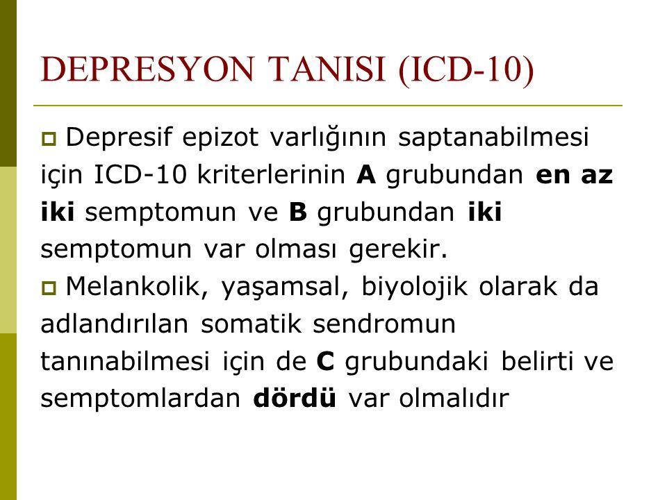 DEPRESYON TANISI (ICD-10)  Depresif epizot varlığının saptanabilmesi için ICD-10 kriterlerinin A grubundan en az iki semptomun ve B grubundan iki sem