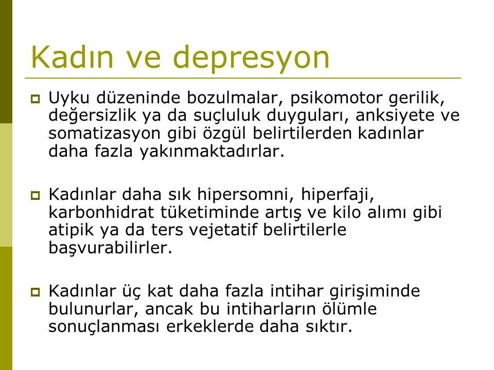 Kadın ve depresyon  Uyku düzeninde bozulmalar, psikomotor gerilik, değersizlik ya da suçluluk duyguları, anksiyete ve somatizasyon gibi özgül belirti