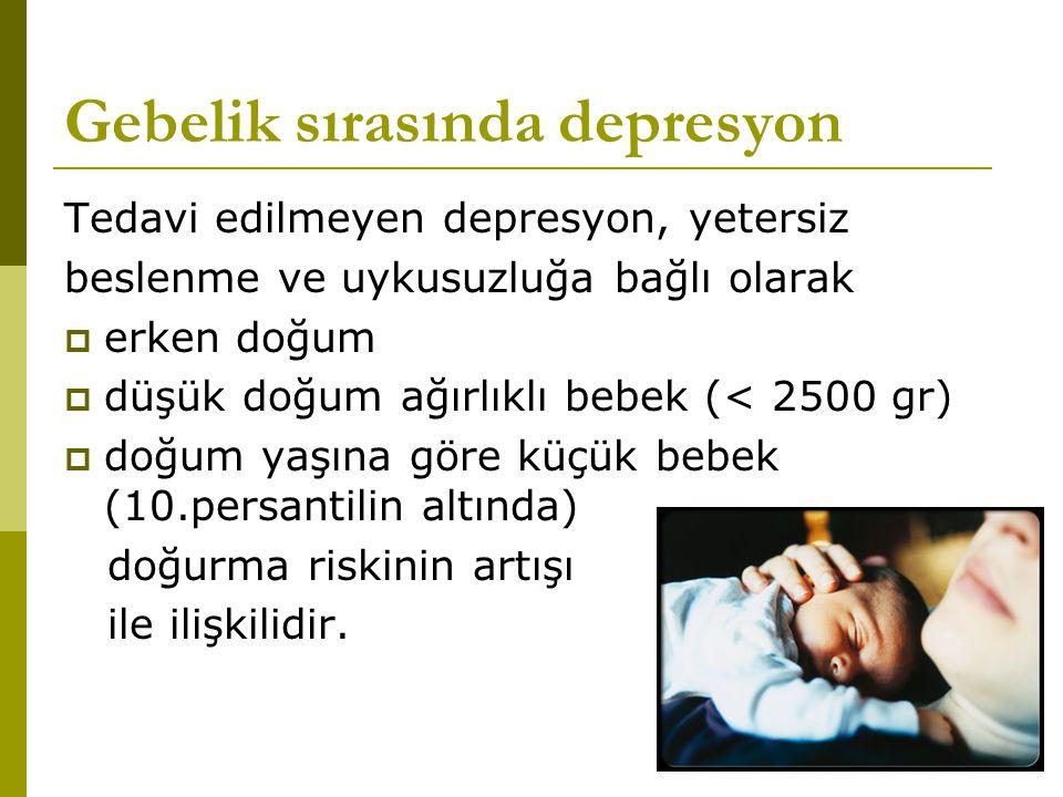 Gebelik sırasında depresyon Tedavi edilmeyen depresyon, yetersiz beslenme ve uykusuzluğa bağlı olarak  erken doğum  düşük doğum ağırlıklı bebek (< 2