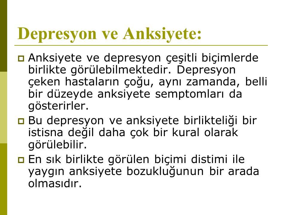 Depresyon ve Anksiyete:  Anksiyete ve depresyon çeşitli biçimlerde birlikte görülebilmektedir. Depresyon çeken hastaların çoğu, aynı zamanda, belli b