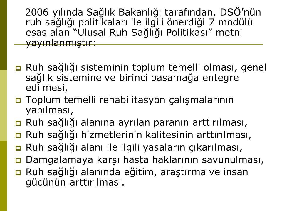 """2006 yılında Sağlık Bakanlığı tarafından, DSÖ'nün ruh sağlığı politikaları ile ilgili önerdiği 7 modülü esas alan """"Ulusal Ruh Sağlığı Politikası"""" metn"""