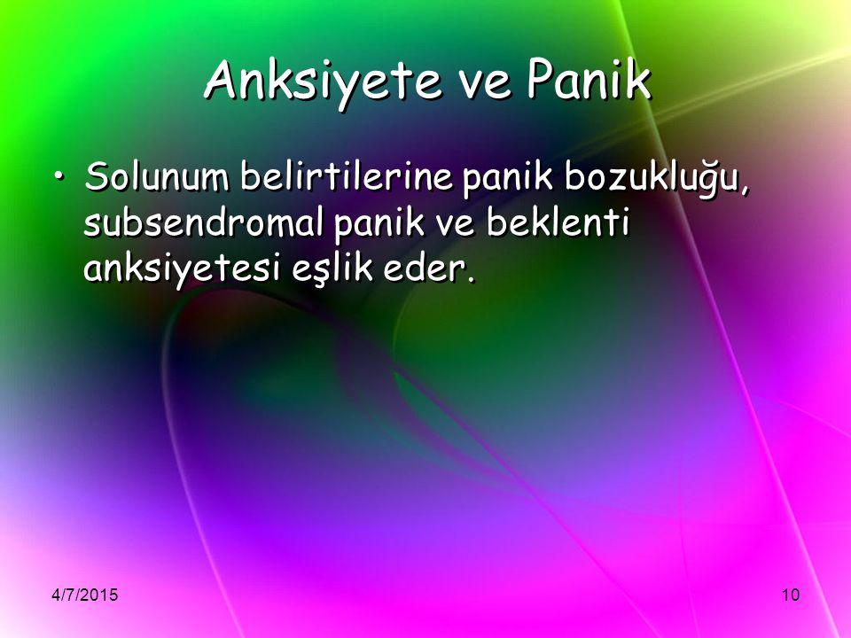 4/7/201510 Anksiyete ve Panik Solunum belirtilerine panik bozukluğu, subsendromal panik ve beklenti anksiyetesi eşlik eder.