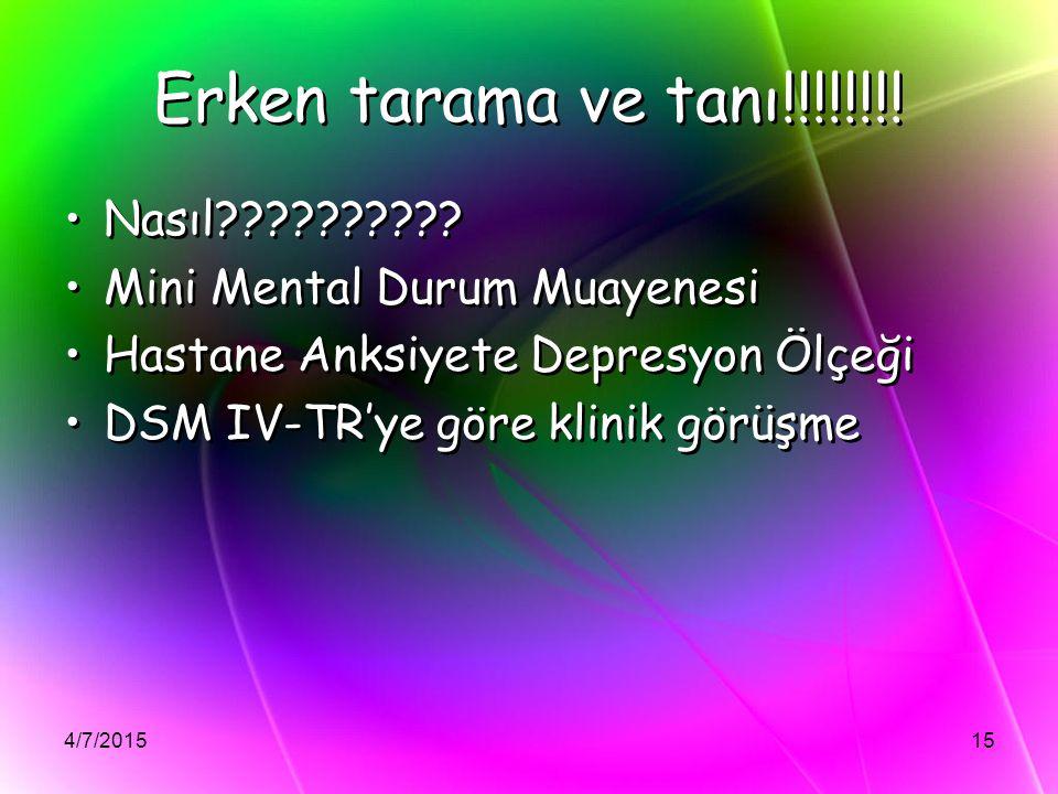 4/7/201515 Erken tarama ve tanı!!!!!!!! Nasıl?????????? Mini Mental Durum Muayenesi Hastane Anksiyete Depresyon Ölçeği DSM IV-TR'ye göre klinik görüşm