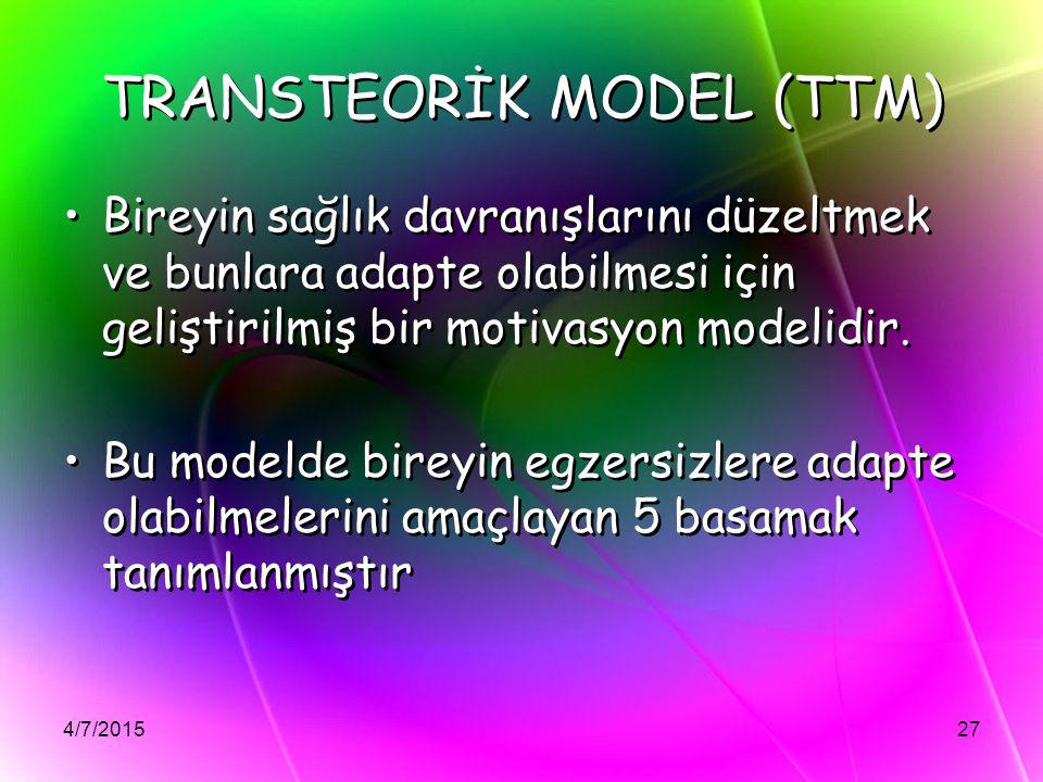 4/7/201527 TRANSTEORİK MODEL (TTM) Bireyin sağlık davranışlarını düzeltmek ve bunlara adapte olabilmesi için geliştirilmiş bir motivasyon modelidir. B