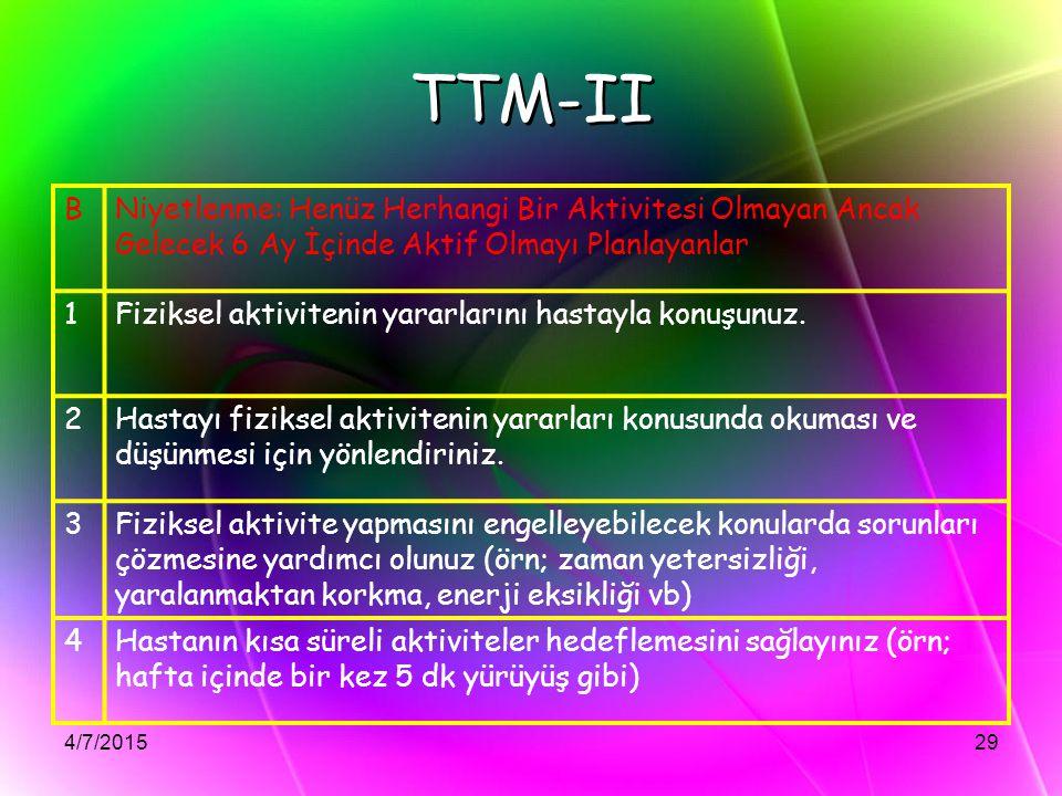 4/7/201529 TTM-II BNiyetlenme: Henüz Herhangi Bir Aktivitesi Olmayan Ancak Gelecek 6 Ay İçinde Aktif Olmayı Planlayanlar 1Fiziksel aktivitenin yararla