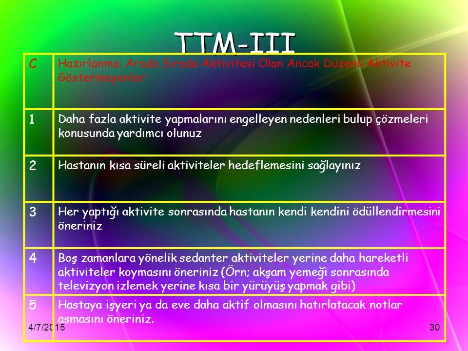 4/7/201530 TTM-III C Hazırlanma: Arada Sırada Aktivitesi Olan Ancak Düzenli Aktivite Göstermeyenler 1 Daha fazla aktivite yapmalarını engelleyen neden