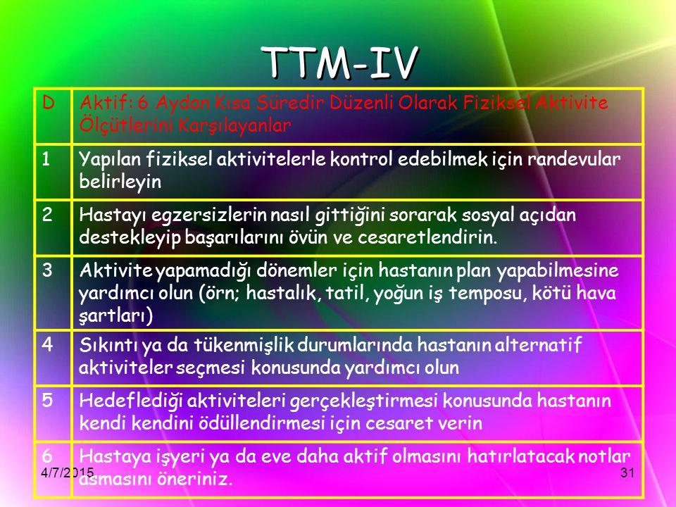 4/7/201531 TTM-IV DAktif: 6 Aydan Kısa Süredir Düzenli Olarak Fiziksel Aktivite Ölçütlerini Karşılayanlar 1Yapılan fiziksel aktivitelerle kontrol edeb