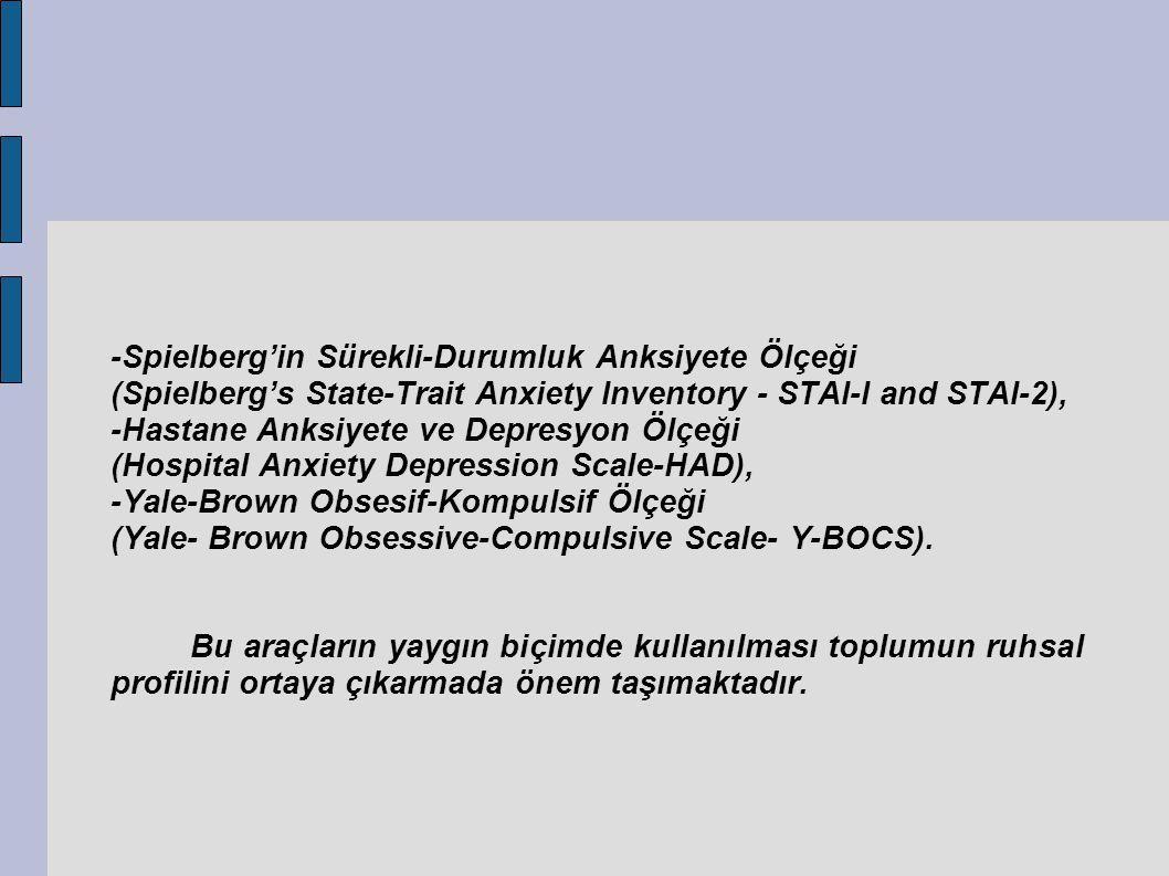 -Spielberg'in Sürekli-Durumluk Anksiyete Ölçeği (Spielberg's State-Trait Anxiety Inventory - STAI-I and STAI-2), -Hastane Anksiyete ve Depresyon Ölçeği (Hospital Anxiety Depression Scale-HAD), -Yale-Brown Obsesif-Kompulsif Ölçeği (Yale- Brown Obsessive-Compulsive Scale- Y-BOCS).
