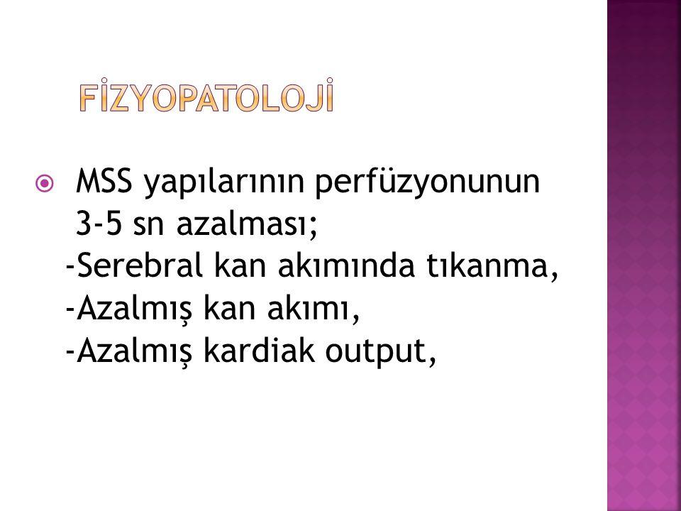  MSS yapılarının perfüzyonunun 3-5 sn azalması; -Serebral kan akımında tıkanma, -Azalmış kan akımı, -Azalmış kardiak output,