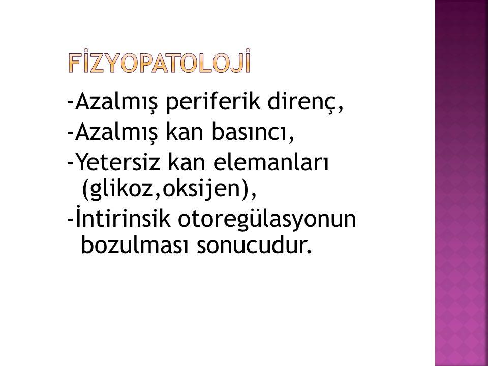 -Azalmış periferik direnç, -Azalmış kan basıncı, -Yetersiz kan elemanları (glikoz,oksijen), -İntirinsik otoregülasyonun bozulması sonucudur.