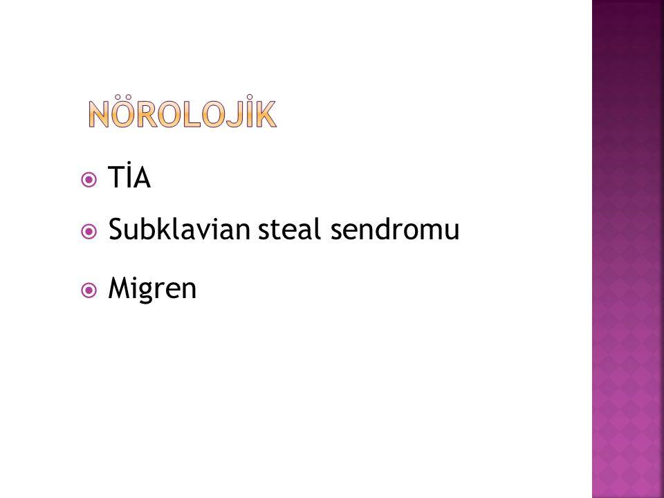  TİA  Subklavian steal sendromu  Migren