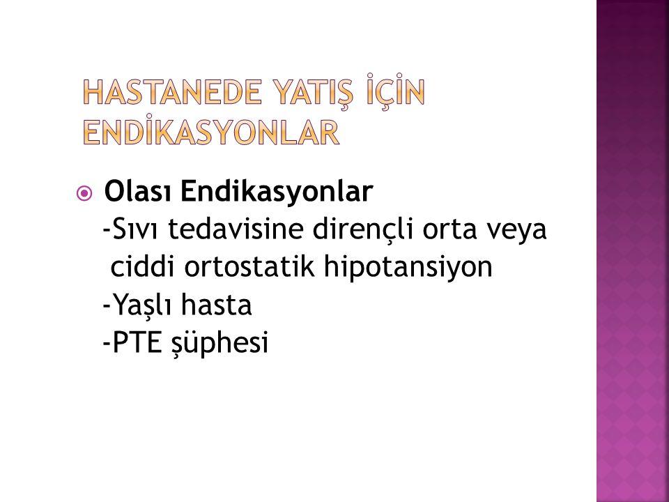  Olası Endikasyonlar -Sıvı tedavisine dirençli orta veya ciddi ortostatik hipotansiyon -Yaşlı hasta -PTE şüphesi