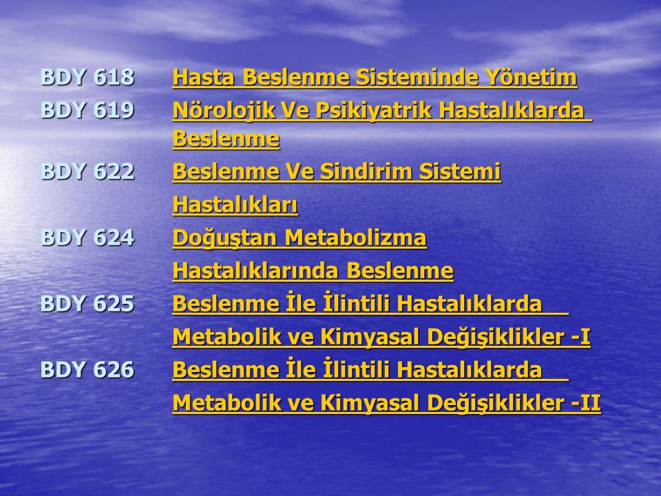 BDY 618Hasta Beslenme Sisteminde Yönetim Hasta Beslenme Sisteminde YönetimHasta Beslenme Sisteminde Yönetim BDY 619Nörolojik Ve Psikiyatrik Hastalıkla
